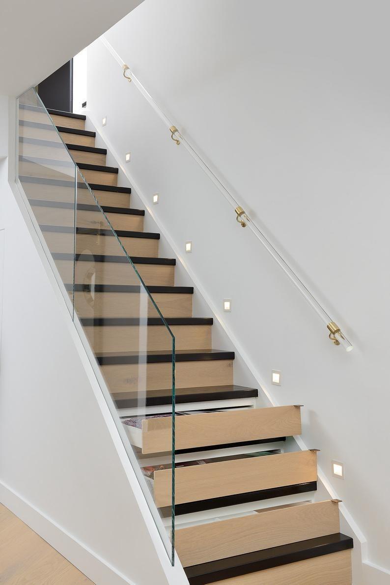 Best Custom Night Smoke Lucite Handrail Polished Brass Satin 400 x 300