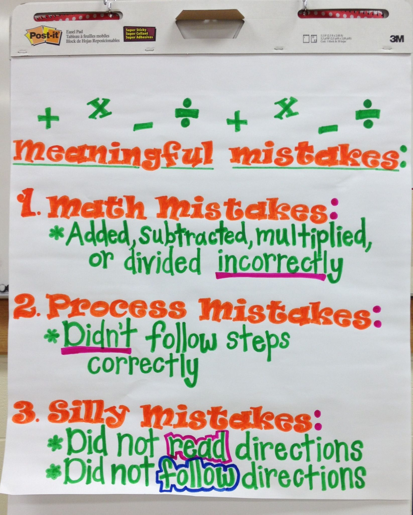 Math Mistakes Anchor Chart.. Created by me and Mrs. Ervin\'s 4th ...