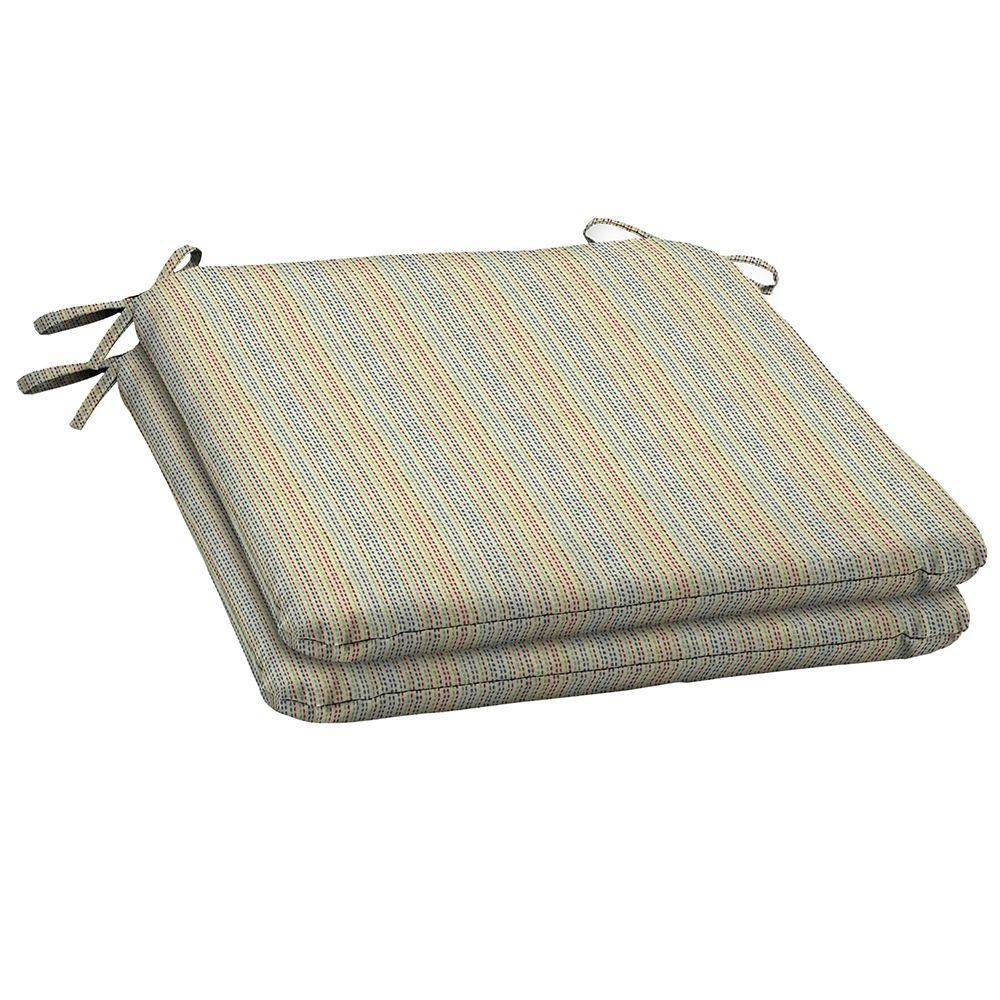 Terrific Hampton Bay Ticking Stripe Outdoor Seat Pad 2 Pack Machost Co Dining Chair Design Ideas Machostcouk