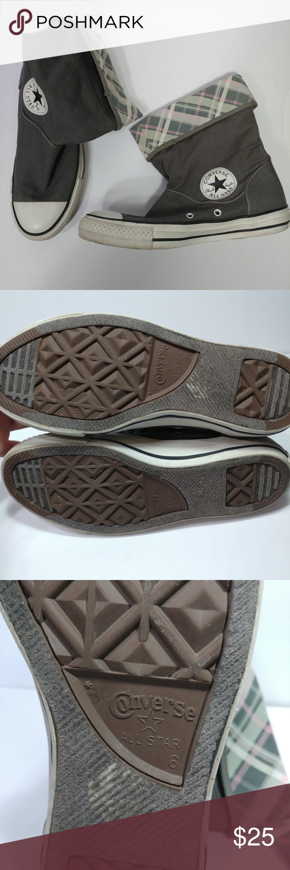 2ea85361a874 Converse all star high tops size 8 fold down Gray hight top with fold down  ankle Inside fabric pink and green plaid Size 8 One small stain on the side  see ...