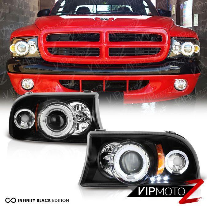 For Dodge 97 04 Dakota 98 03 Durango Black Halo Led Drl Projector Headlight Lamp Projector Headlights Led Halos Dakota