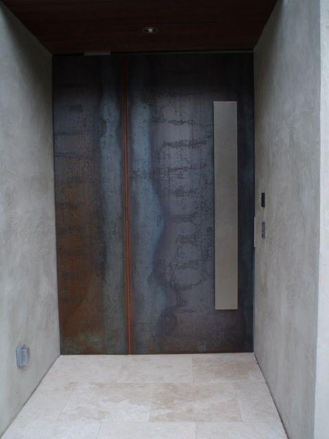 Corten Steel Door + Concrete Wall + Stainless Steel Handle  Maybe The Whole  Entry Door + Adjoining Wall In Corten Steel?