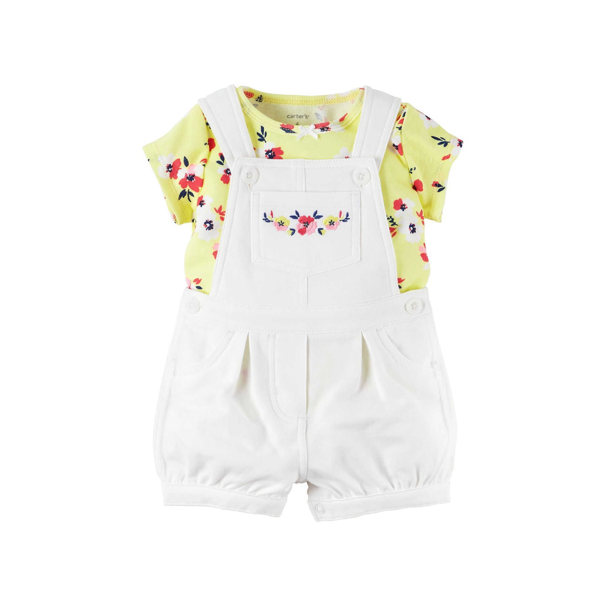 Baby Girl Carter s Floral Tee & French Terry Shortalls Set Size