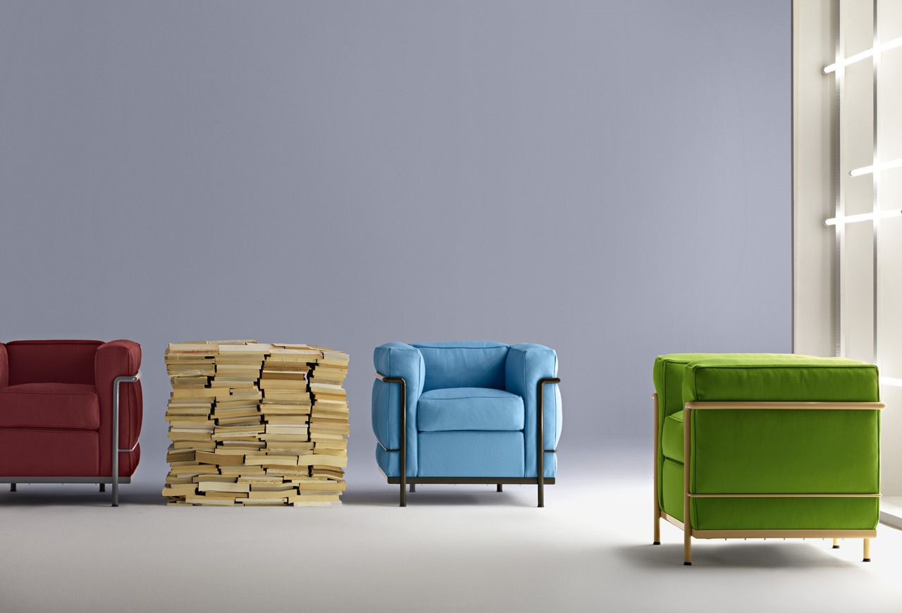 Classic Le Corbusier Lc2 Armchairs In An Array Of Colourful Frames And Fabrics Contemporary Furniture Corbusier Furniture Furniture