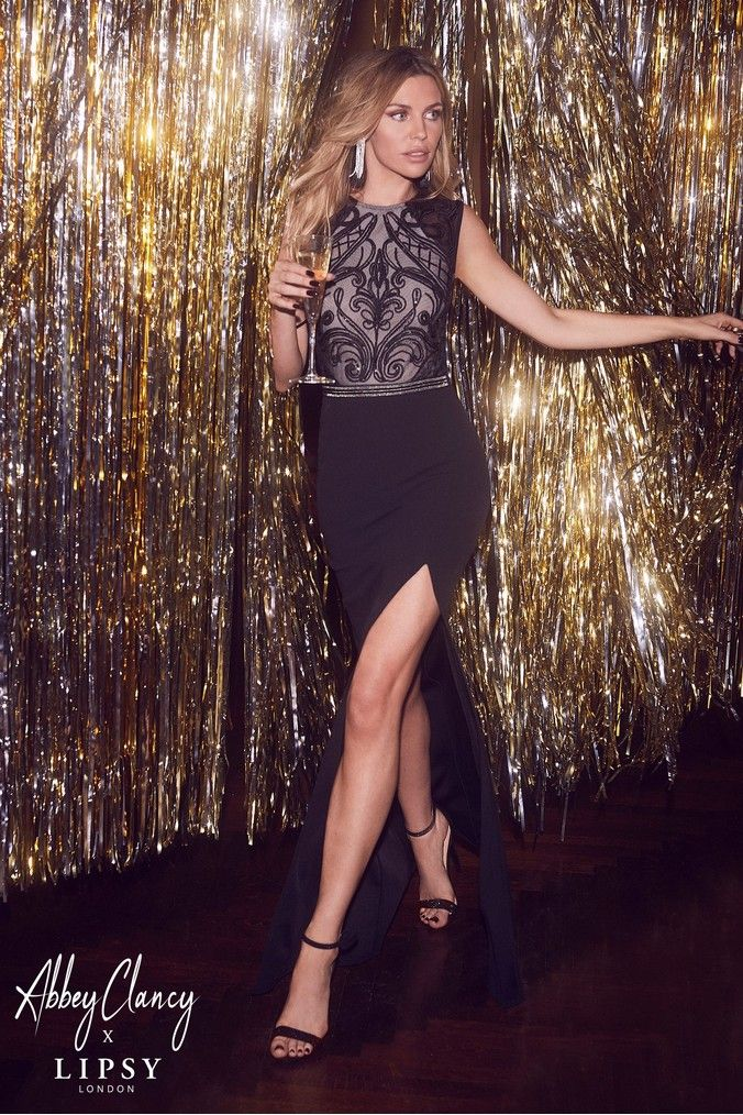 wide range new arrive info for Womens Abbey Clancy x Lipsy Tall Sequin Top Maxi Dress - Black ...