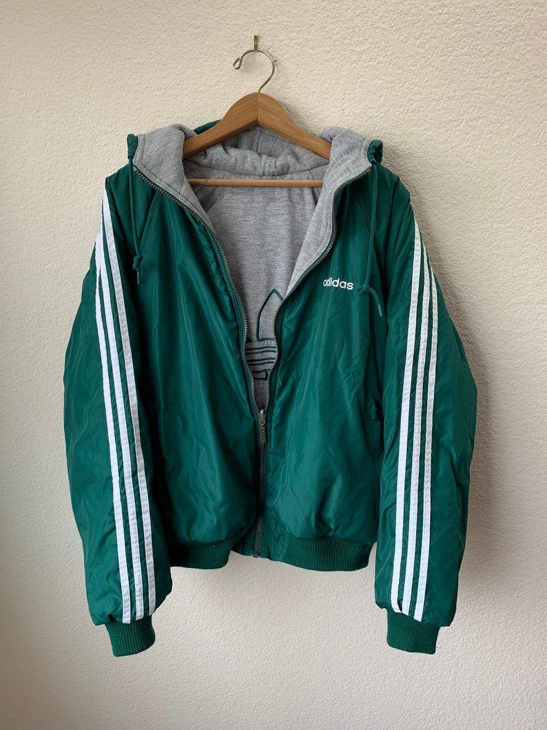 90s Adidas Reversible Coat Trefoil Sweatshirt Lined Jacket 90s Green White Adidas Logo Winter Puffer Coat Gray Inside Mens Medium Large Reversible Coat Line Jackets Winter Puffer Coat [ 1059 x 794 Pixel ]
