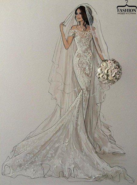 Pin von marine auf wedding pinterest illustration mode Wedding dress illustration