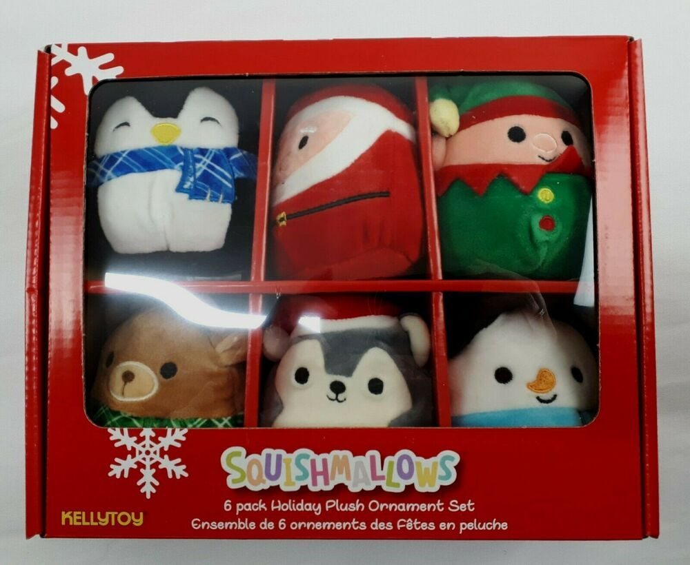 Squishmallows Holiday Plush Christmas Ornaments 6 Pack Kellytoy New 734689794614 Ebay Plush Christmas Ornaments Christmas Plush Christmas Ornament Sets