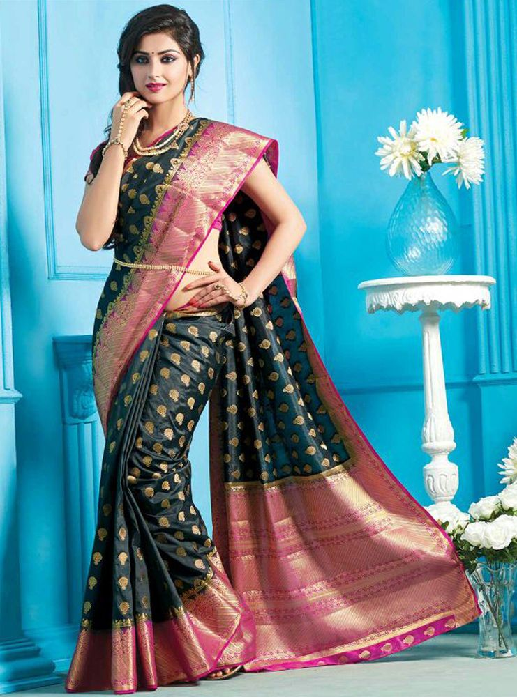 Silk sarees new design indian ethnic bollywood saree with blouse ...