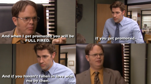 If You Haven T Fallen In Love With Me By Then Hasn T He Though Office Humor The Office Show Office Memes