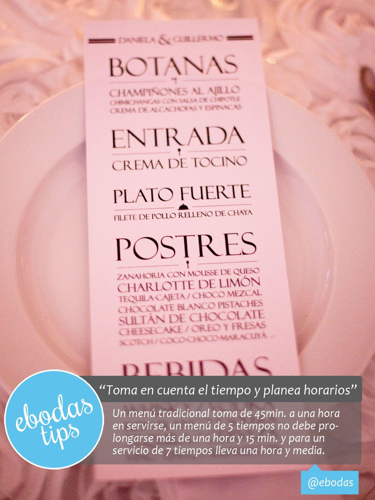 Ten en cuenta las horas y tiempos #ebodas #menu #wedding