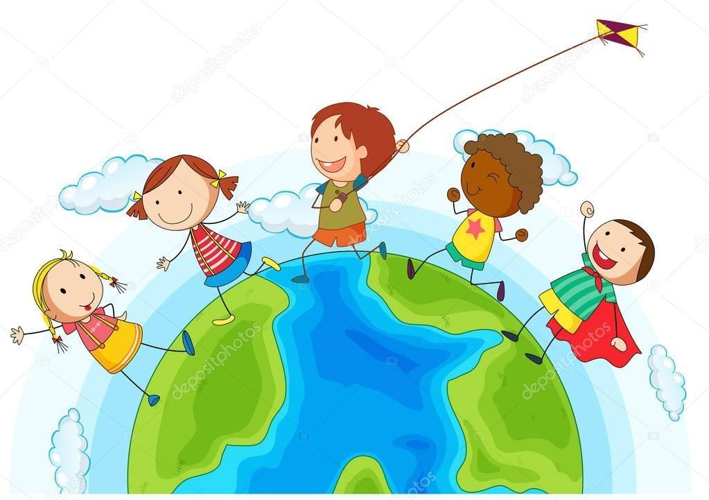 Descargar Ninos Corriendo Alrededor Del Mundo Ilustracion De Stock Nino Corriendo Ninos Alrededor De Los Mundos