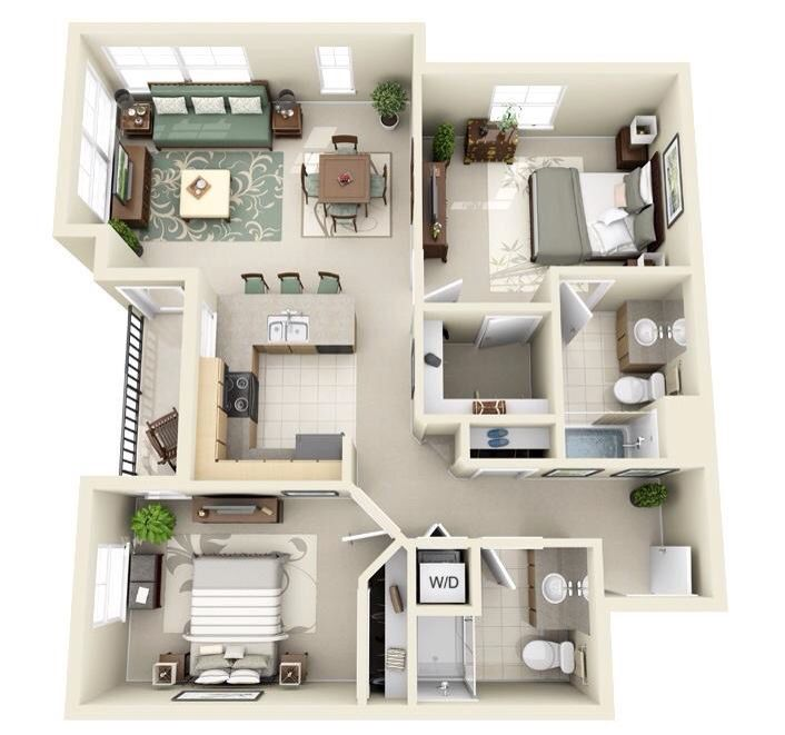 Two Bedroom House Design Pictures Brilliant Goals ¿  3D Floor Plans  Pinterest  House And Interiors Inspiration
