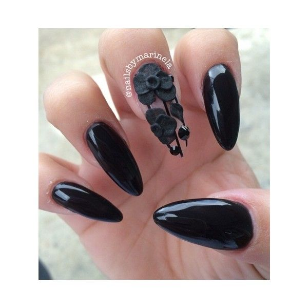 Black Stiletto Nails Nail Art Gallery ❤ liked on Polyvore featuring ...