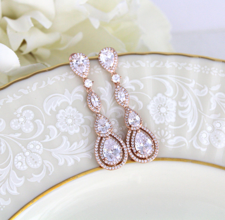 Rose gold earrings crystal bridal earrings bridal jewelry wedding rose gold earrings crystal bridal earrings bridal jewelry wedding earrings dangle earrings arubaitofo Choice Image