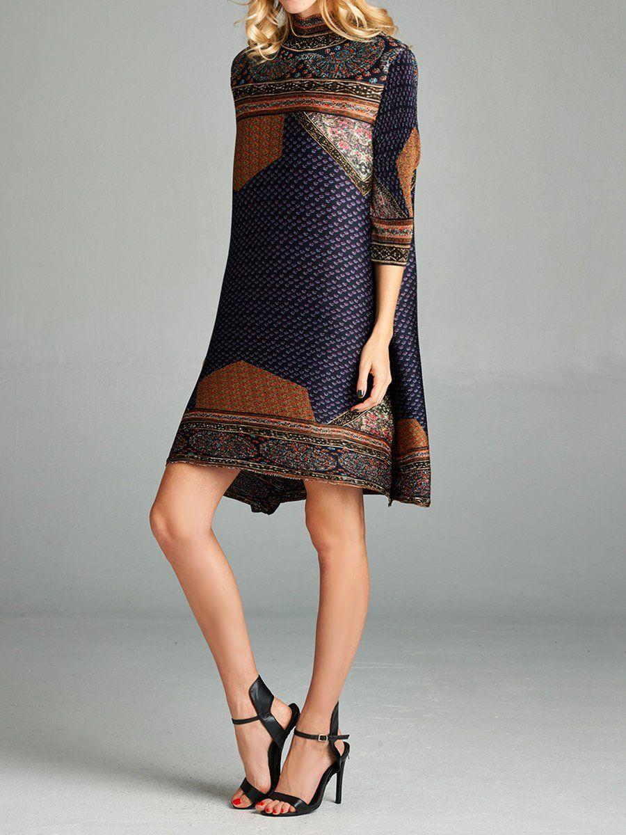 d8fe934f1337 Shop Midi Dresses - Brown Long Sleeve H-line Midi Dress online. Discover  unique designers fashion at StyleWe.com.