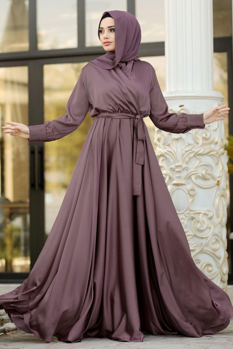 Tesetturlu Abiye Elbise V Yaka Krep Saten Koyu Gul Kurusu Tesettur Abiye Elbise 1418kgk Tesetturisland Com 2020 Elbise Moda Stilleri Uzun Elbise