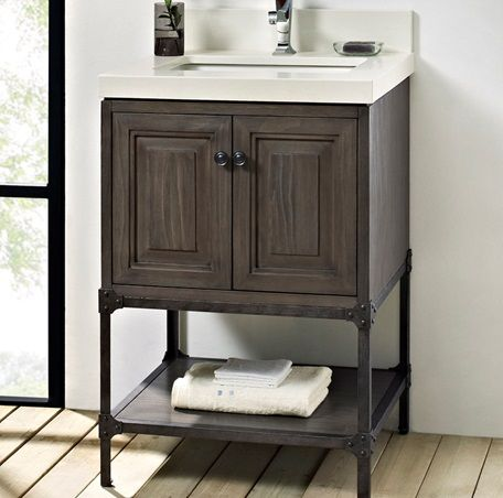 "24 Bathroom Vanity With Backsplash 24"" cabinet with backsplash that carries up wall. single hole"