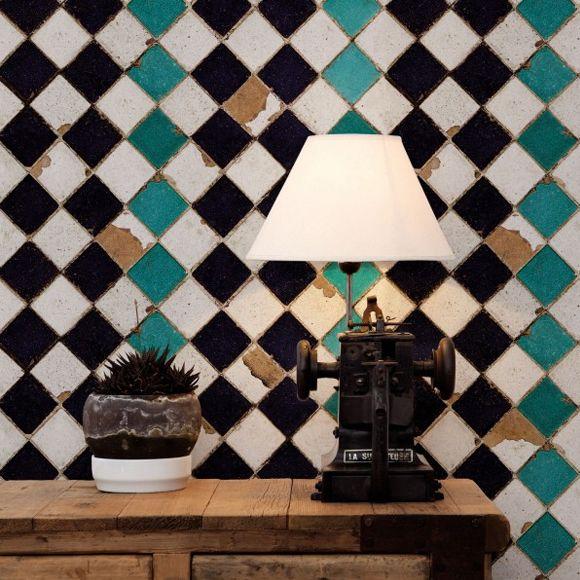 papier peint tourquoise chess pattern and textiles. Black Bedroom Furniture Sets. Home Design Ideas