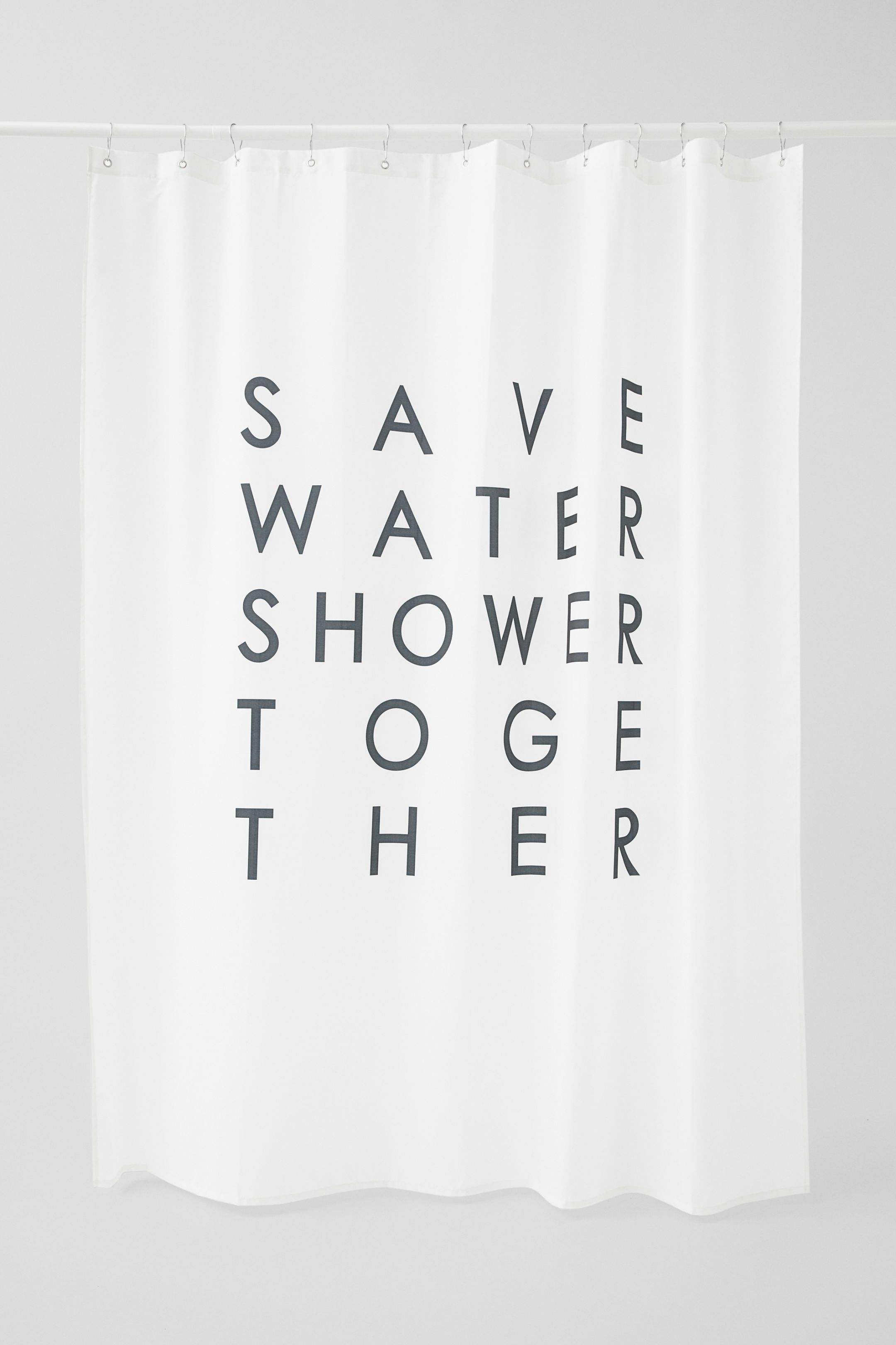 Text Print Shower Curtain White Shower Curtain Shower Curtain Save Water Shower