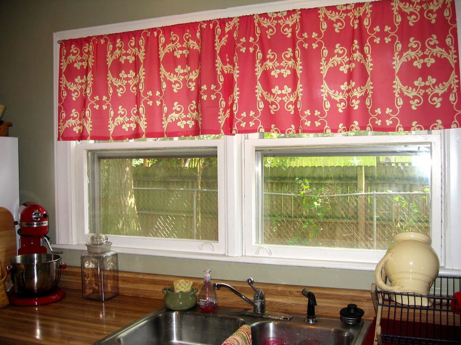 small curtain above window