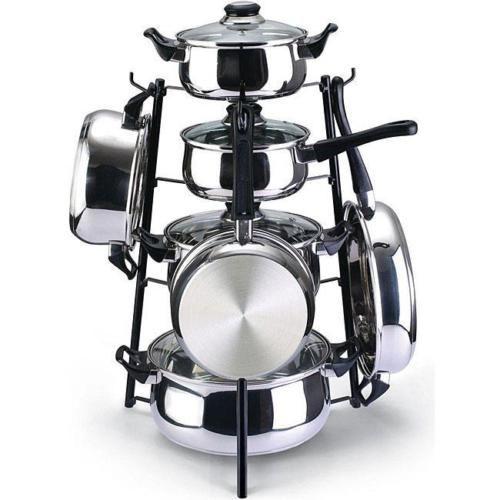Black-19-034-Pots-amp-Pans-Holder-Pot-Rack-Stand-Kitchen-Organizer-Storage-Spacesaver