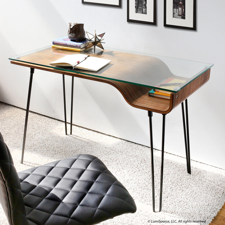 LumiSource Avery Desk (Walnut), Brown, Size Medium | Desks ...