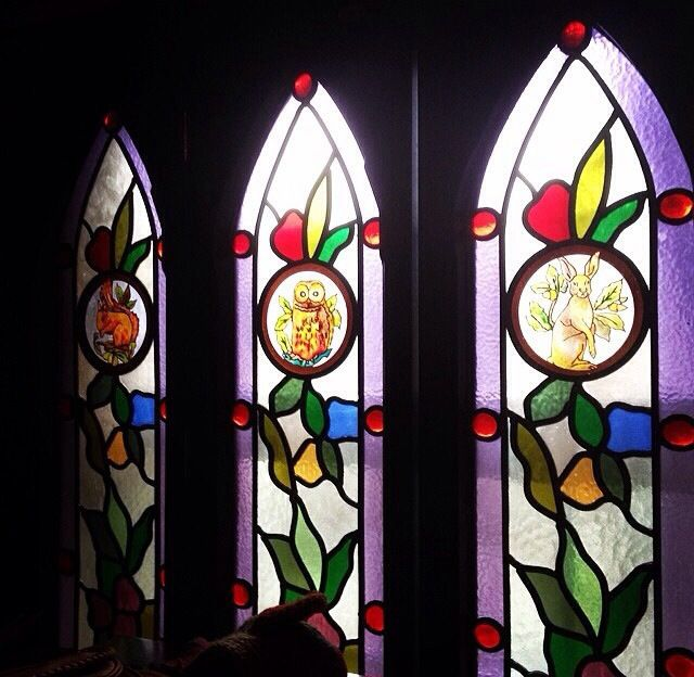 Stained glass with animals
