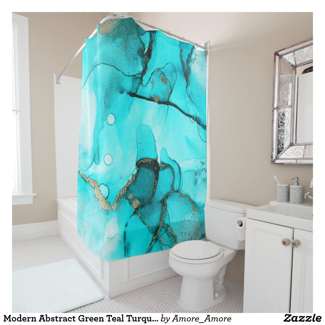Modern Abstract Green Teal Turquoise Gold Shower Curtain Zazzle