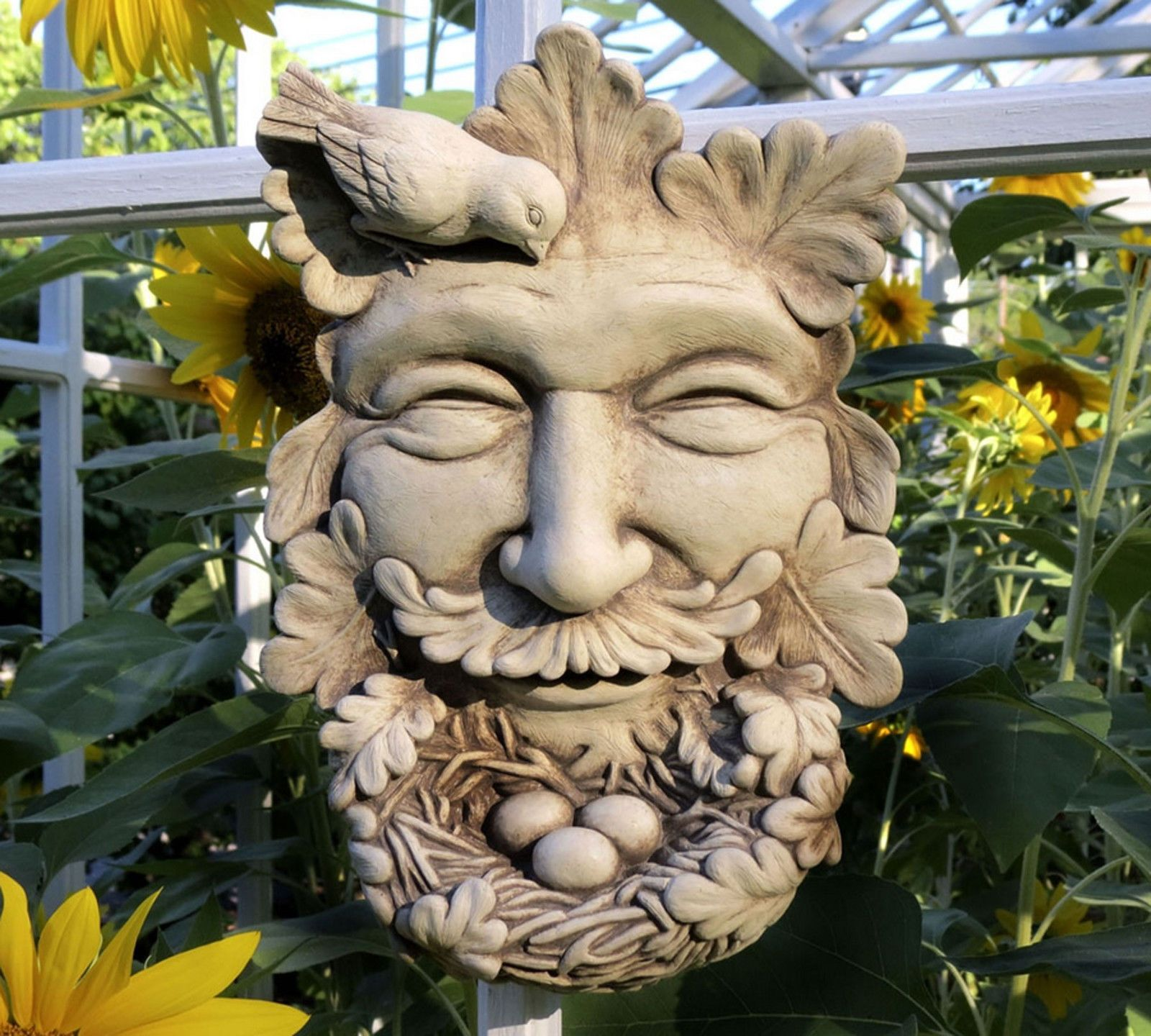 "Natures Nest Cast Stone 10"" Garden Greenman Wall Sign Indoor Outdoor Face Plaque 