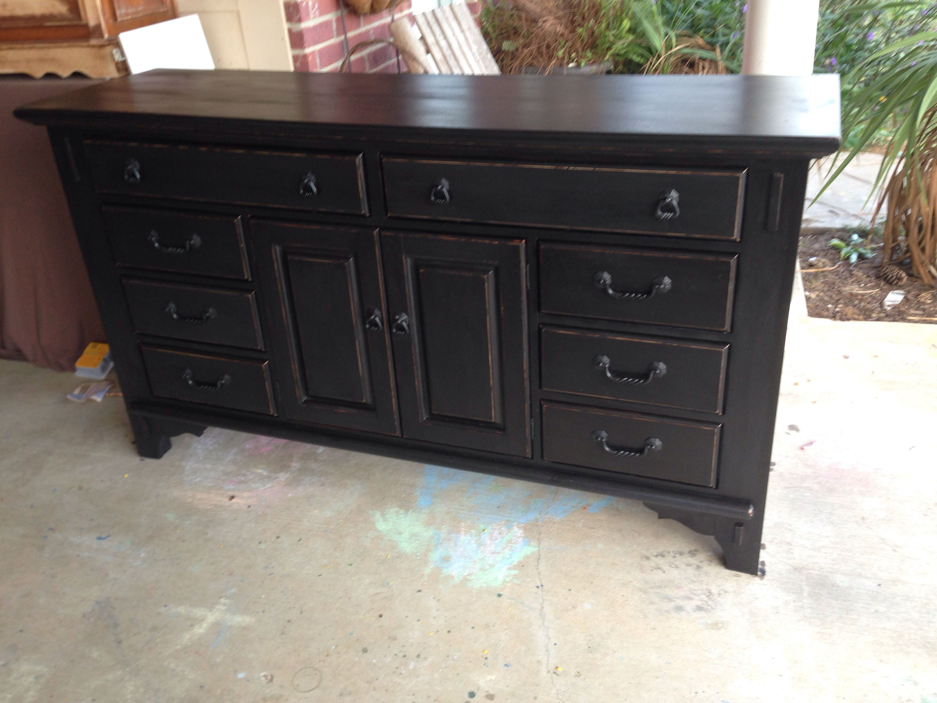 Black Chalk Paint With Stain Glaze Over Furniture