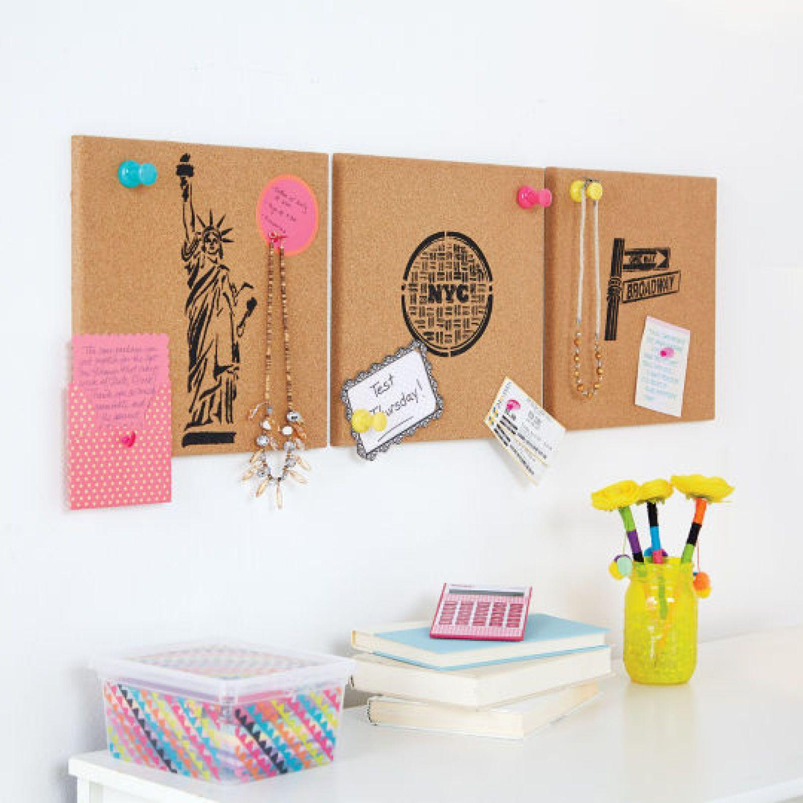 DIY Ed Roth Stencil Cork Boards home office organization