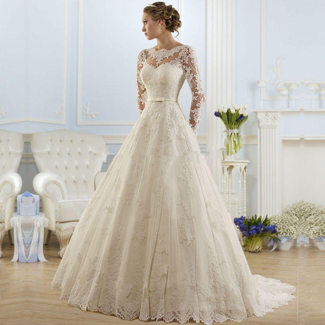 Long sleeve ivory wedding dress  Long sleeve Lace Whiteivory Wedding dress Bridal Gown Stock size