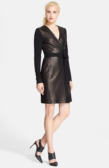 Diane Von Furstenberg Leather Wrap Dress Available At Nordstrom