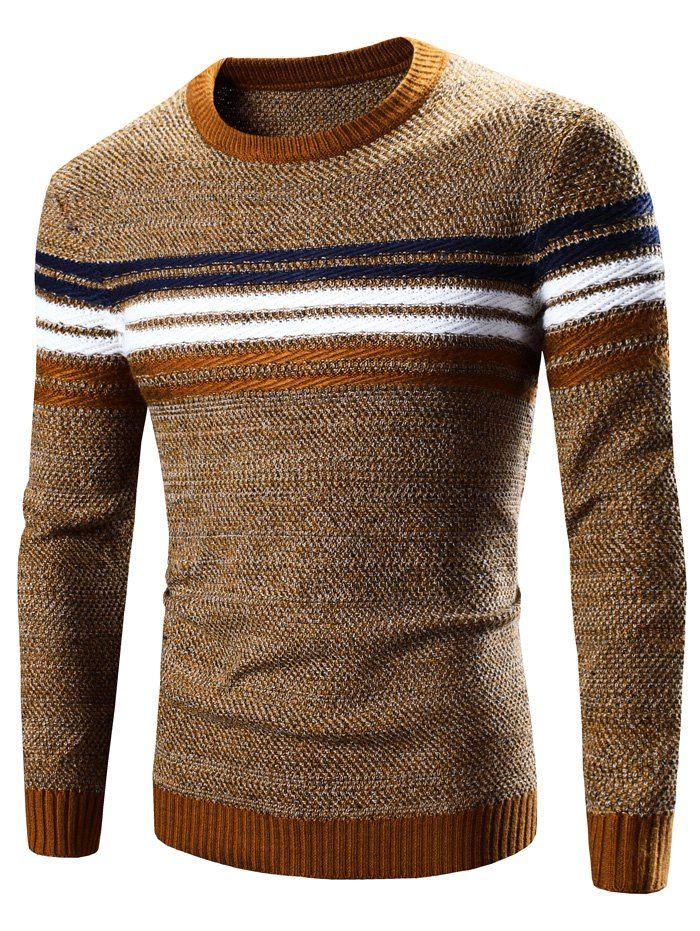 Crew Neck Striped Splicing Pattern Long Sleeve Sweater