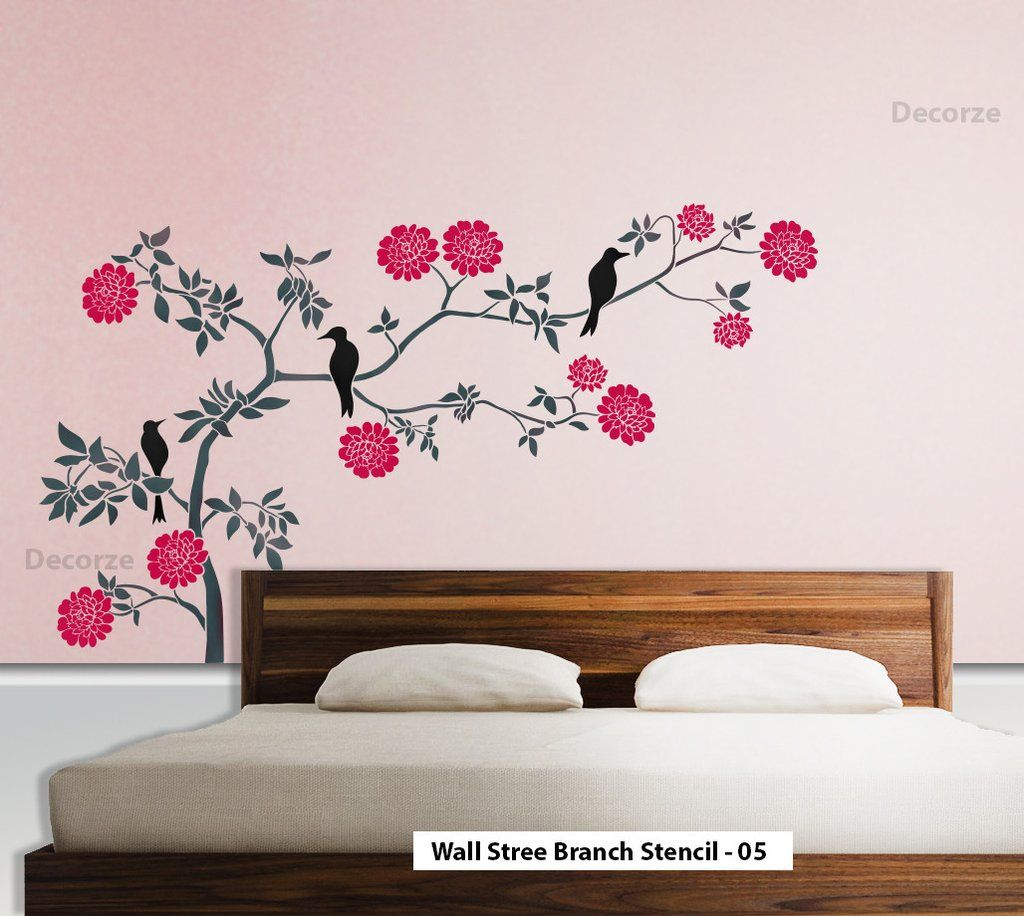 nature wall tree branch wall art stencil large wall tree stencil branch inredning tree wall. Black Bedroom Furniture Sets. Home Design Ideas