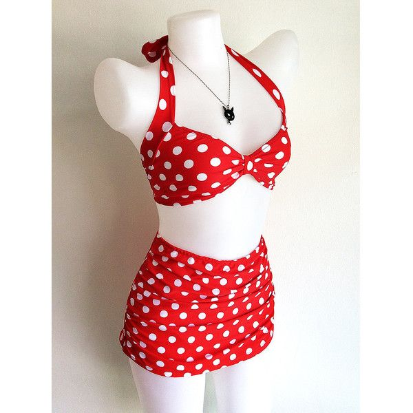 Vintage Inspired Retro Swimsuit 1950s Style Red Polka Dot Two Piece... ❤ liked on Polyvore featuring swimwear, bikinis, red bikini, swimsuits bikinis, red bikini swimsuit, retro two piece bathing suits and red swimsuit