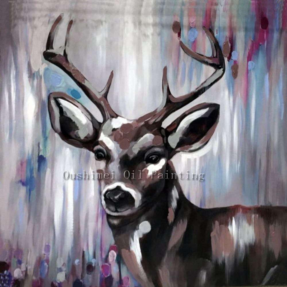 Hand Painted Knife Animals Deer Oil Painting Hang Paintings Modern Abstract