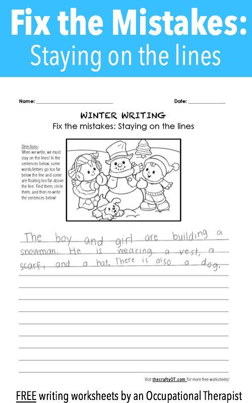 winter writing fix the mistakes school based ot handwriting worksheets handwriting. Black Bedroom Furniture Sets. Home Design Ideas