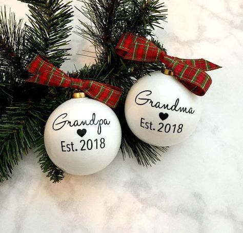 Grandparent ornament, birth announcements, baby coming soon, grandma grandpa gift #grandpagifts