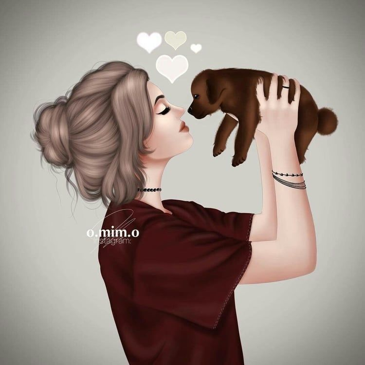 Dogs Love Animals Pets Cute Girl Drawing Girls Cartoon Art
