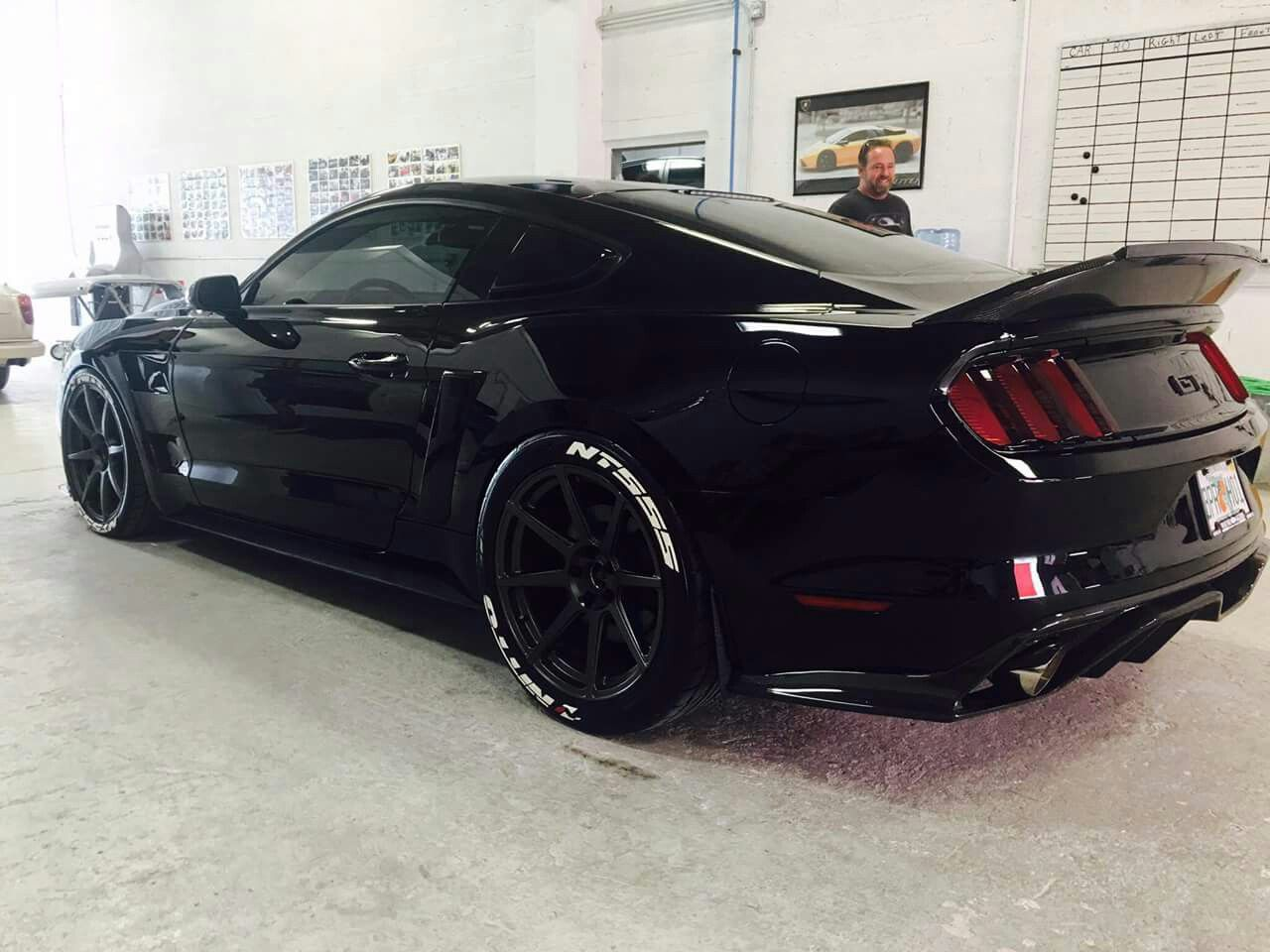 Mario Melgar S Black Mare S550 Mustang Gt Is Boasting A Ton Of Mods But Our Favorite Has To Be The Twin Precision Ford Mustang Car S550 Mustang Mustang Cars