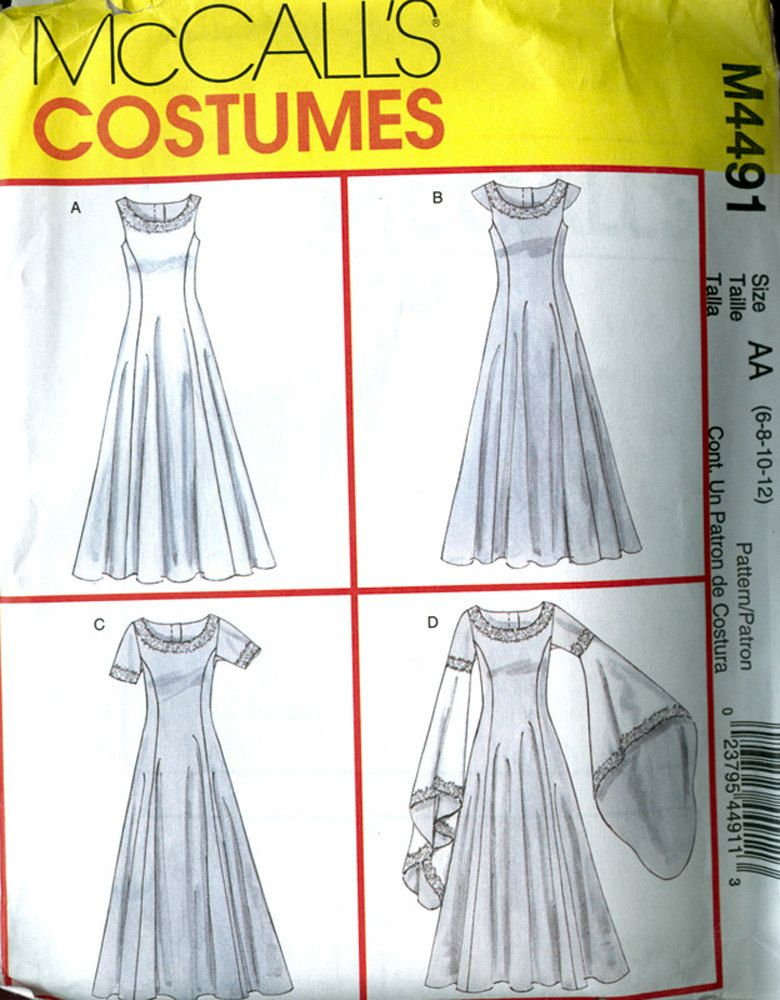 Medieval Dresses Sewing Pattern McCall\'s 4491 Size 6-12 Bust 30-34 ...