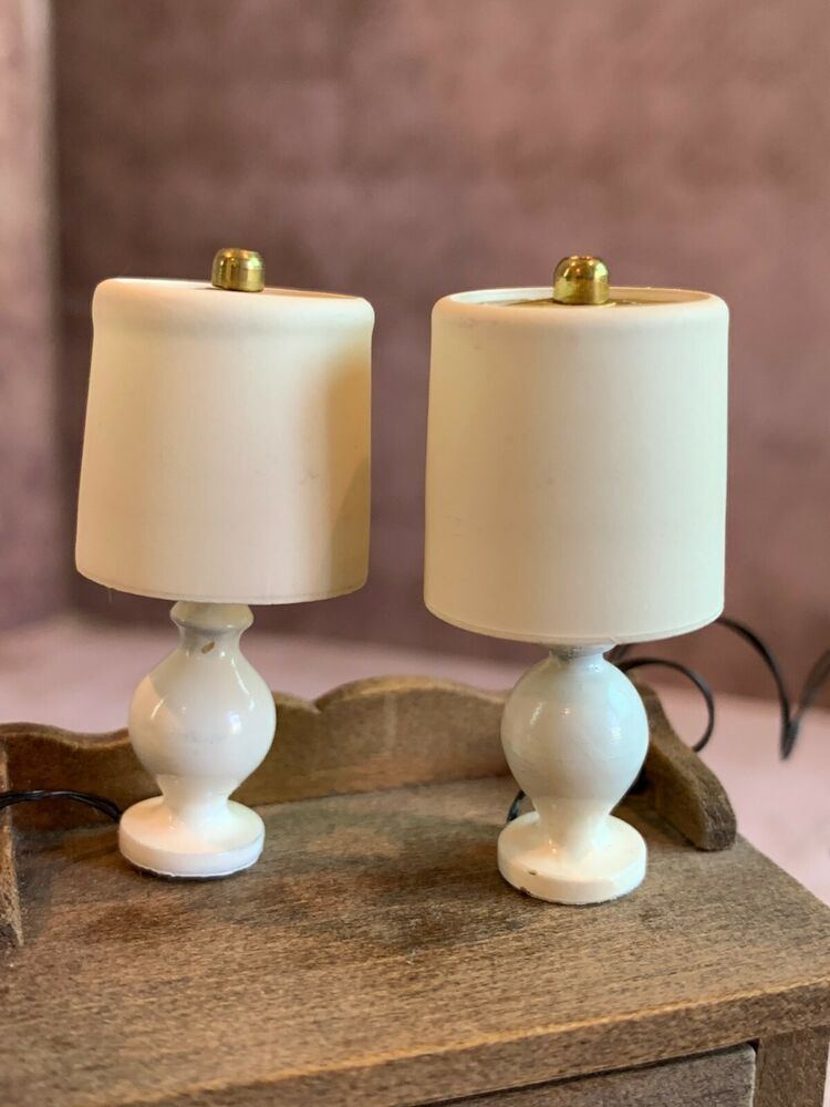 Dollhouse Miniature Set of Green Glazed Large Candle Holders