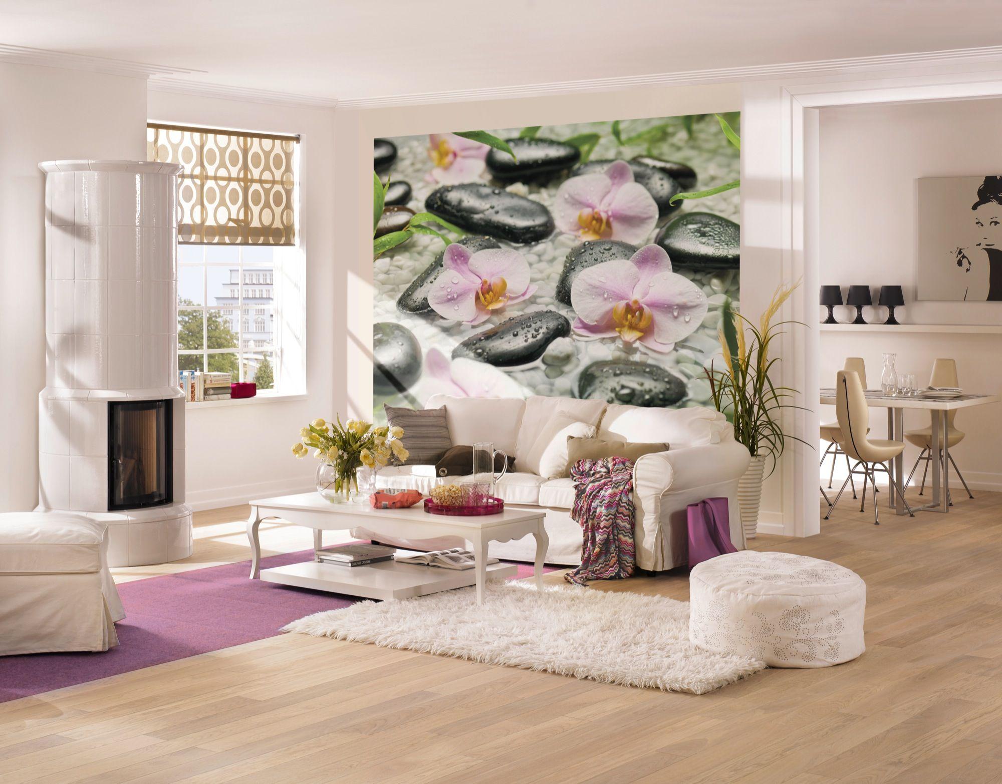 Wellness steine wallpaper  Ein Ort der Ruhe - Blühende Orchideen und weiße Steine sorgen für ...