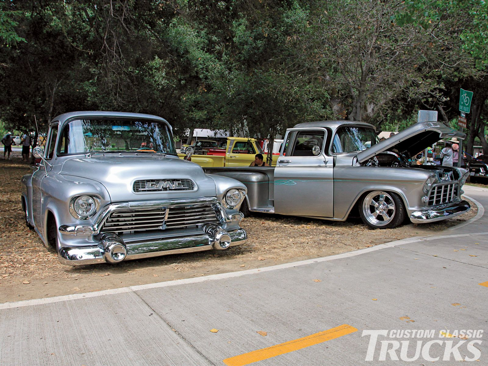 Miranda's silver Big-Window '55 Chevy at right. View Related Article