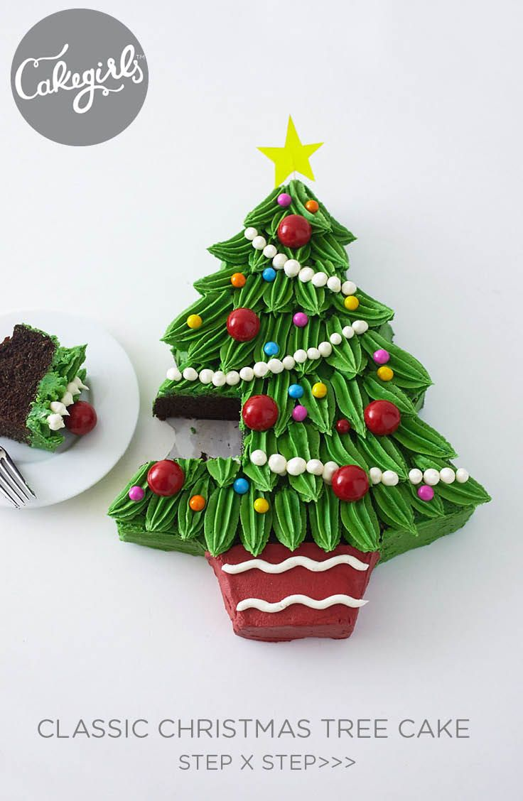 Piped Buttercream Christmas Tree Cake Tutorial Christmas Tree Cake Tree Cakes Holiday Desserts Table