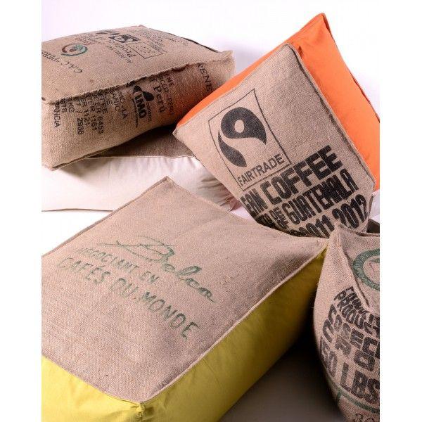 coussins d coration coussin de sol caf cors en sac recycl lilokawa 3739 alterethica. Black Bedroom Furniture Sets. Home Design Ideas