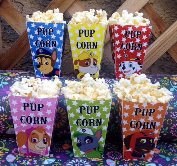 DIGITAL INSTANT DOWNLOAD - Paw Patrol Printable Popcorn Boxes Pup Corn This listing includes SIX high-resolution printable popcorn box designs, 1