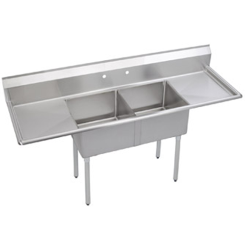 Universal Lj1821 2rl 72 Two Compartment Sink W Two Drainboards Elkay Stainless Steel Sinks Sink